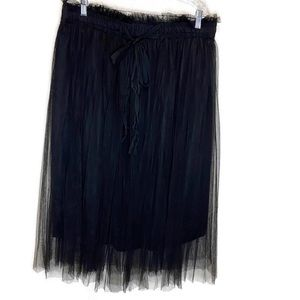 Tulle black lined skirt XXL elastic waist